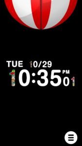 うまい棒時計アプリの画面