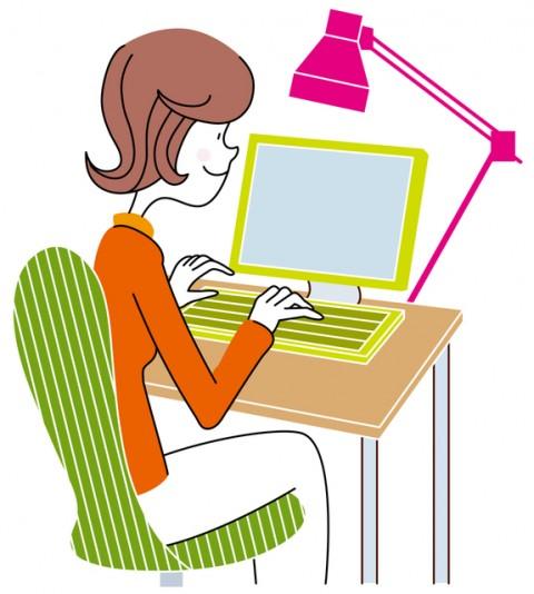 パソコンを操作する女性のイラスト